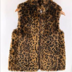 J.Crew NWT Faux-fur Leopard Zippered Vest
